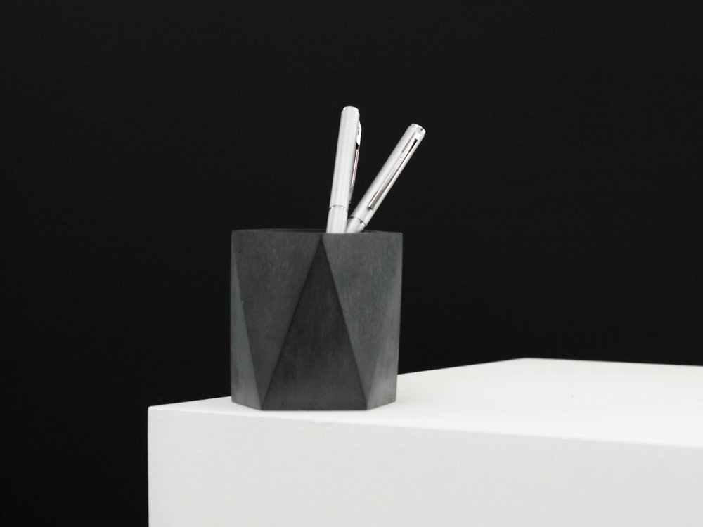 Dark Grey Concrete Votive Candle Holder by The Savvy Heart