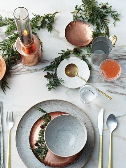 Copper and green Table setting ideas for thanksgiving dinner by the savvy heart.jpg