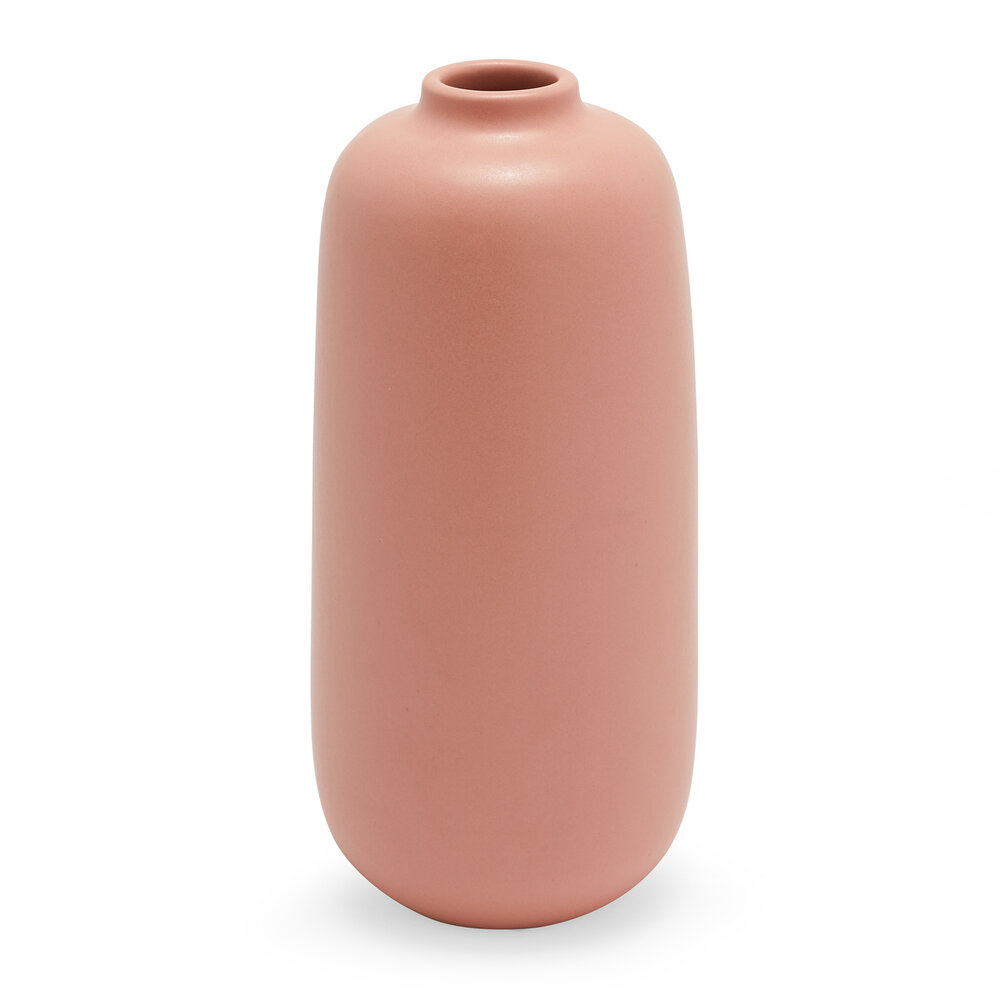 Coral pink bud vase for a modern and simple table setting for thanksgiving or holidays.jpeg