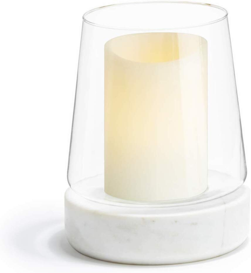 Marble base round glass hurricane candle holder for a modern Thanksgiving and Christmas table setting.jpg