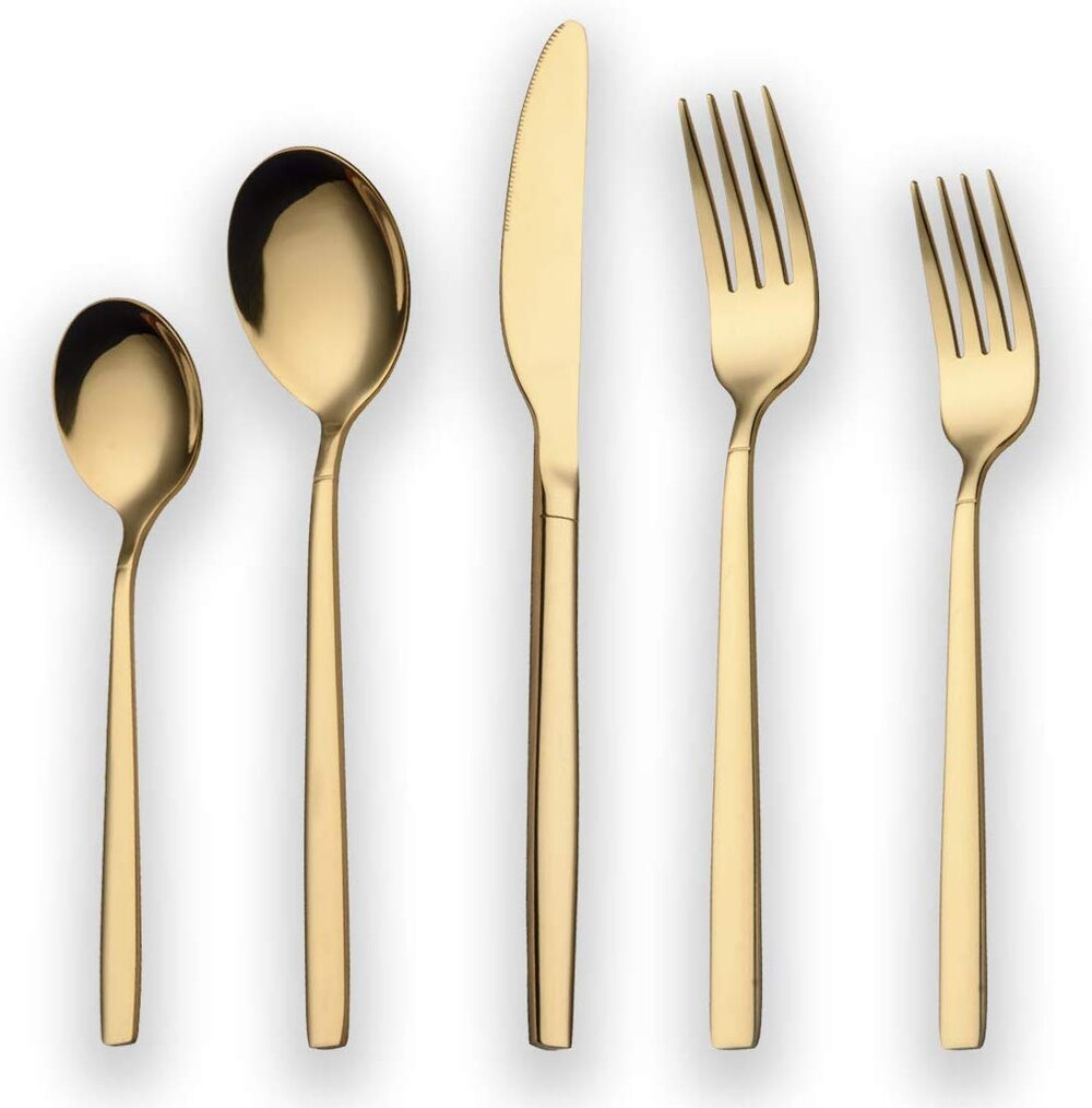 Modern and glam Titanium Gold Plated Stainless Steel Flatware Set for a Holiday table setting.jpg