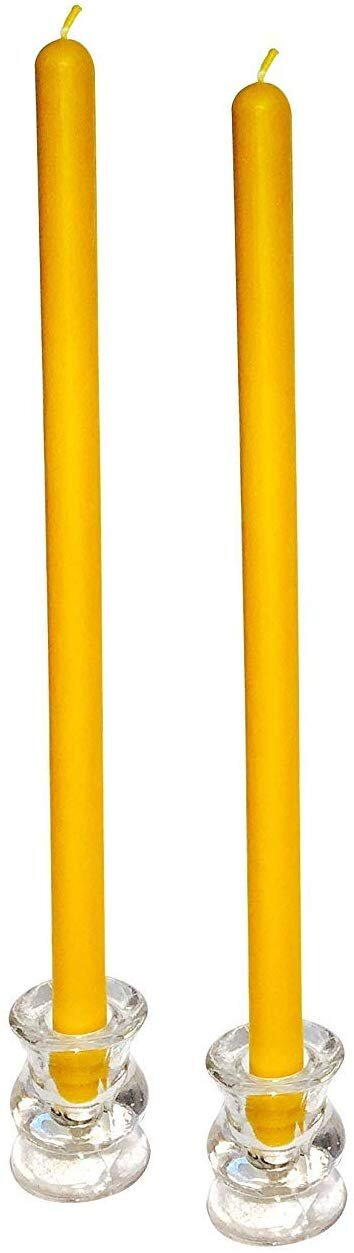 Orange Yellowish Beeswax tall and skinny taper candles for a modern fall holiday table setting.jpg