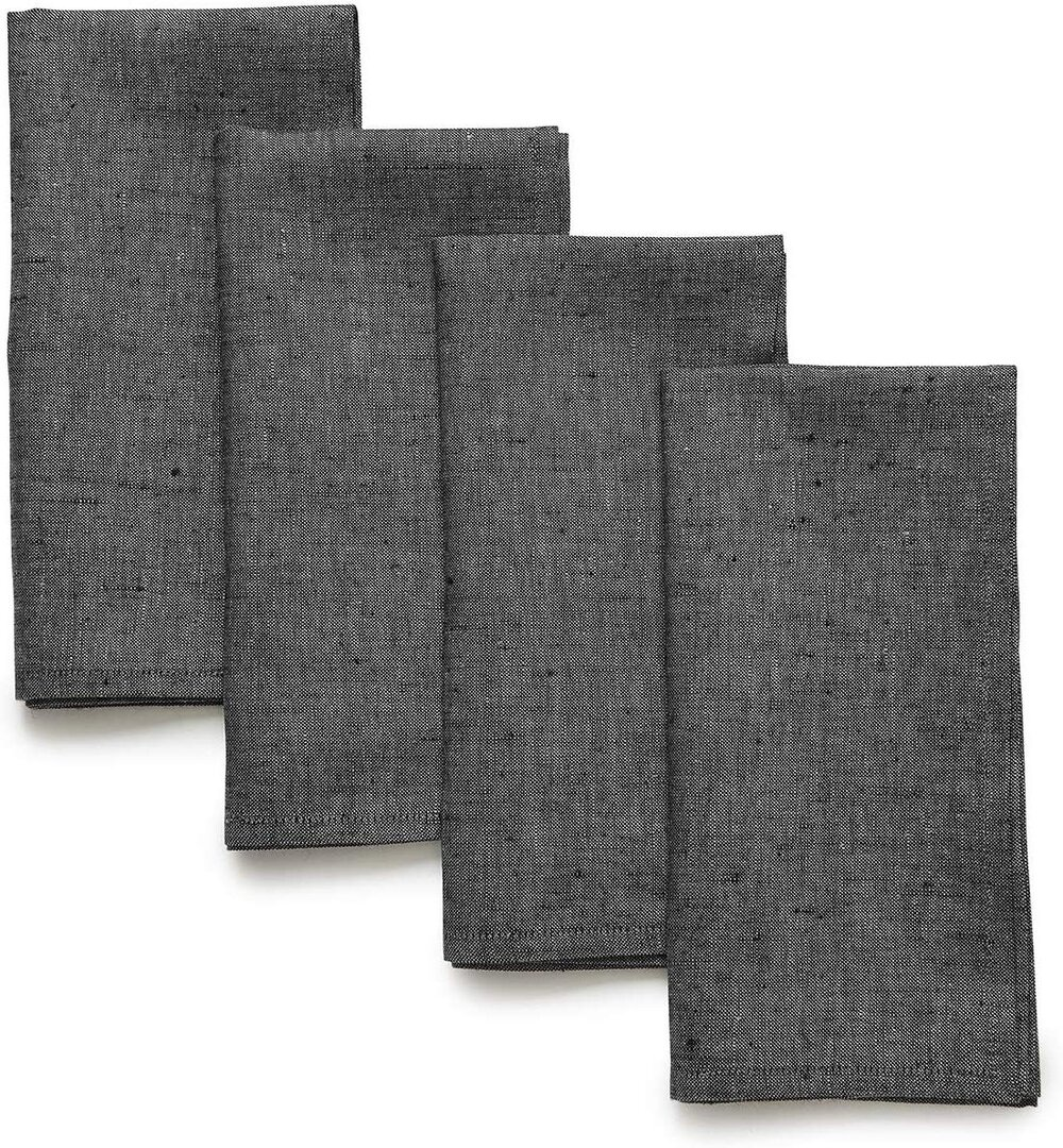 Set of four charcoal linen gray napkins for a modern place setting tablescape.jpg
