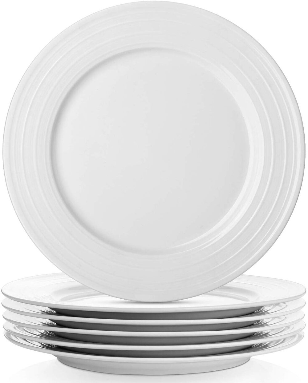 Simple White dinner plates with a striped ring detail for a modern thanksgiving or chritmas table setting.jpg
