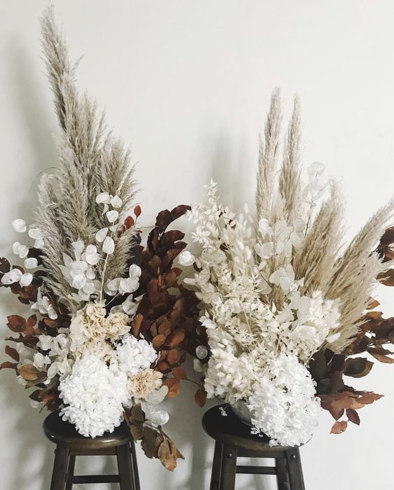 Fall to Winter Decorating ideas with Florals and Dried Grasses