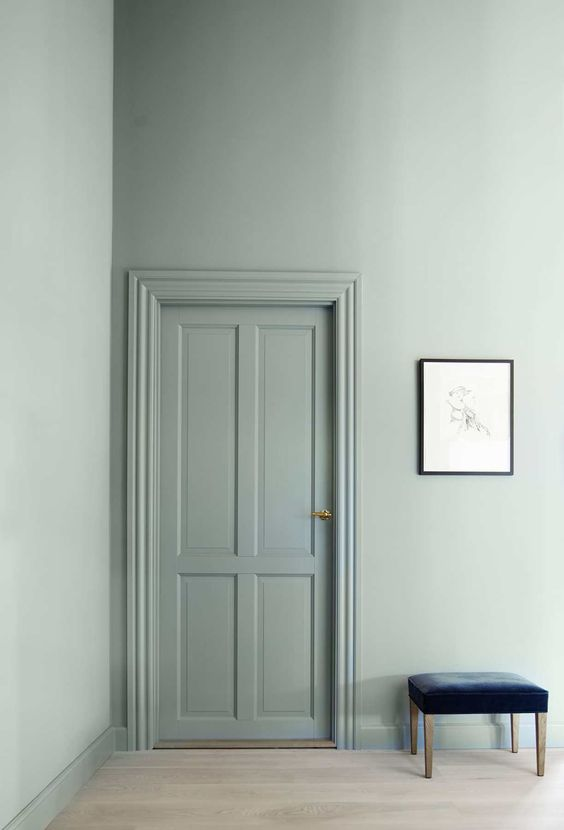 Mint green as a wall color for doors and trim