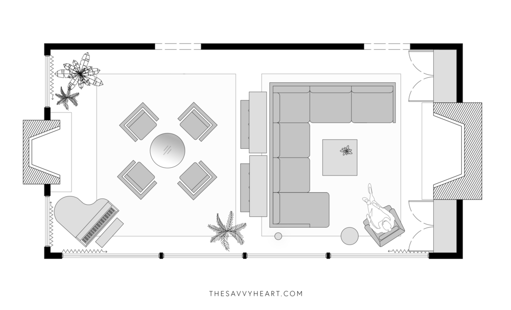 5 Furniture Layout Ideas For A Large Living Room With Floor Plans The Savvy Heart Interior Design Décor And Diy