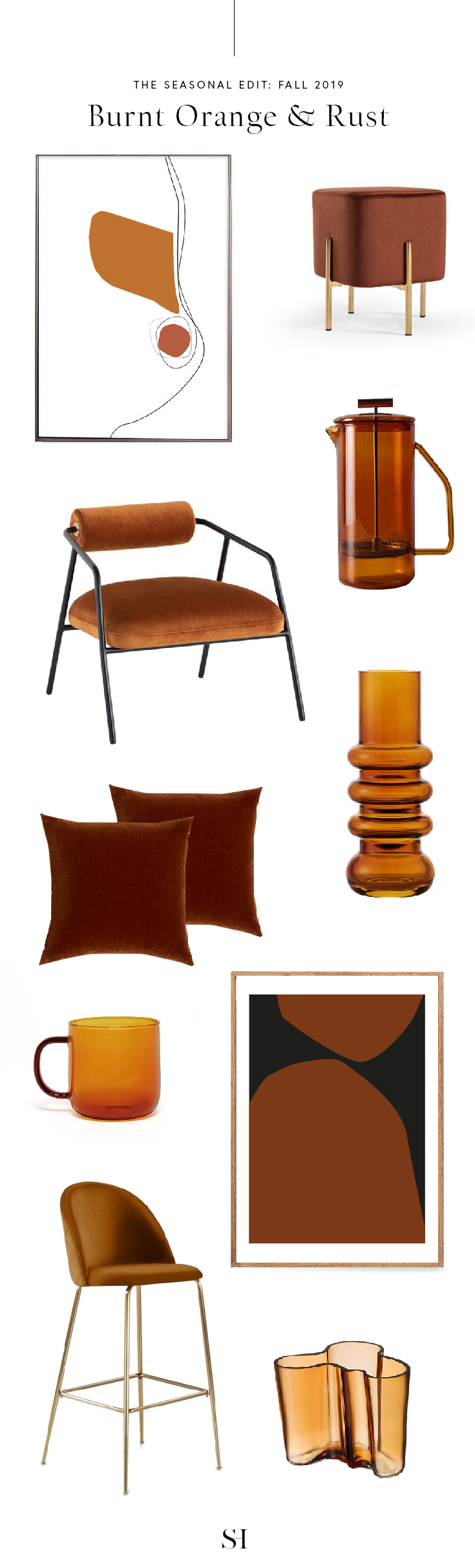 Burnt Orange and rust color palette for fall 2019 interior design and decor trends by the savvy heart.png