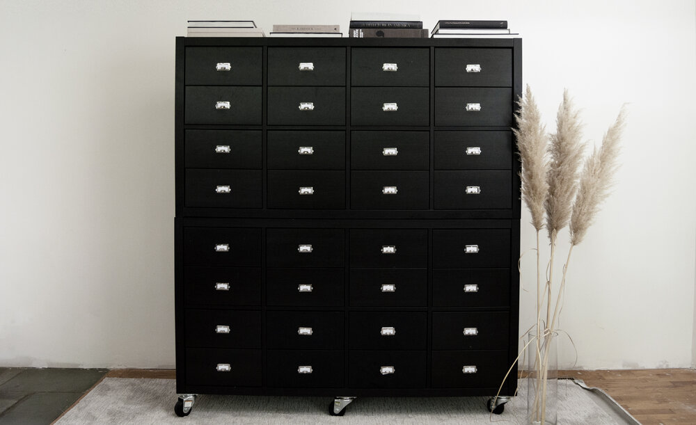 DIY Ikea Hack with Kallax Shelves and Drawers - Library Card Catalog & Apothecary Cabinet
