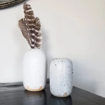 Gift Guide Ideas for the Homebody - Handmade Black and White Speckled Bud Vase from Goose Creek Mercantile in Seattle, WA.jpg