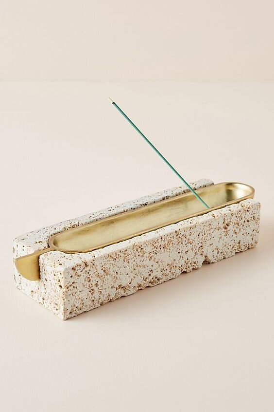 Gift Guide for The Designer or Design obsessed - Modern stone and metal incense burner with brass inlay.jpg