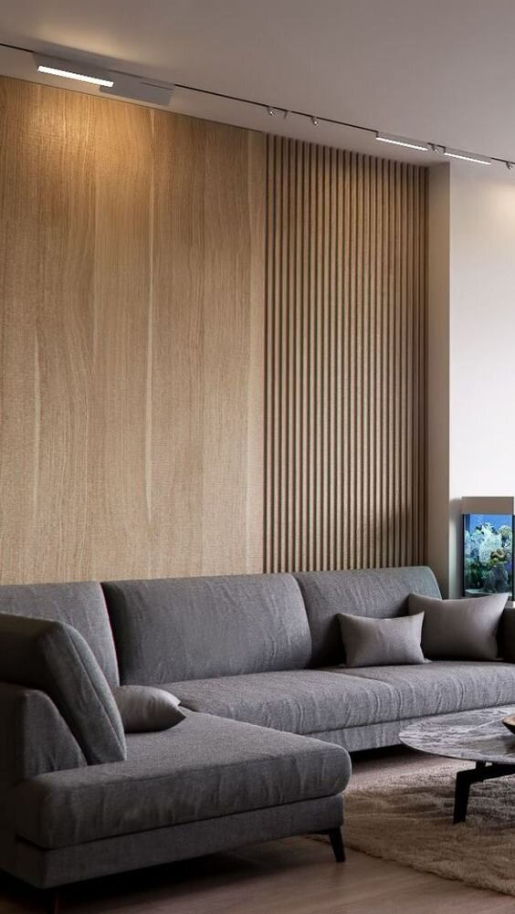 Minimal and MOdern living room trends - accent wall with slatted wood by the savvy heart.jpg