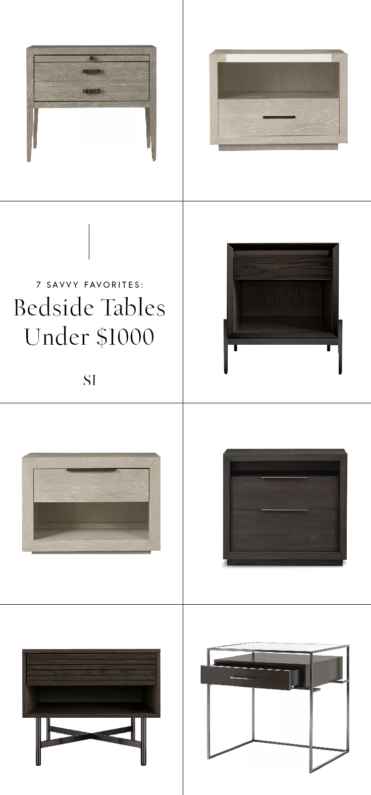 Modern and Minimal Bedside tables and nightstands under $1000 by the savvy heart.png