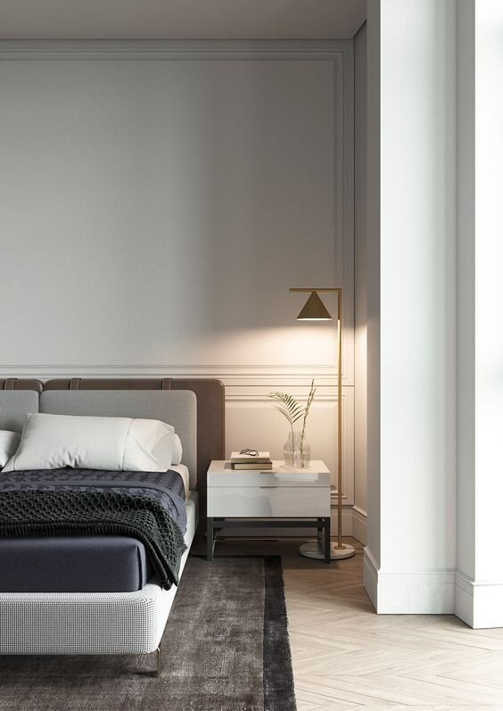 Modern and contemporary bedroom with white gloss and brass nightstand - Best Nightstands.jpg