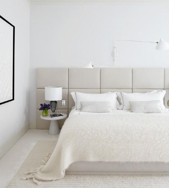 2020 Interior Design and Home Decor Trends - Wall to wall upholstered headboard for the modern bedroom - The Savvy heart interior design studio and blog.jpg