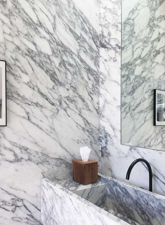 All marble bathroom - white and grey veined marble slab walls - 2020 interior design trends by The Savvy Heart Interior Design Studio and Blog.jpg