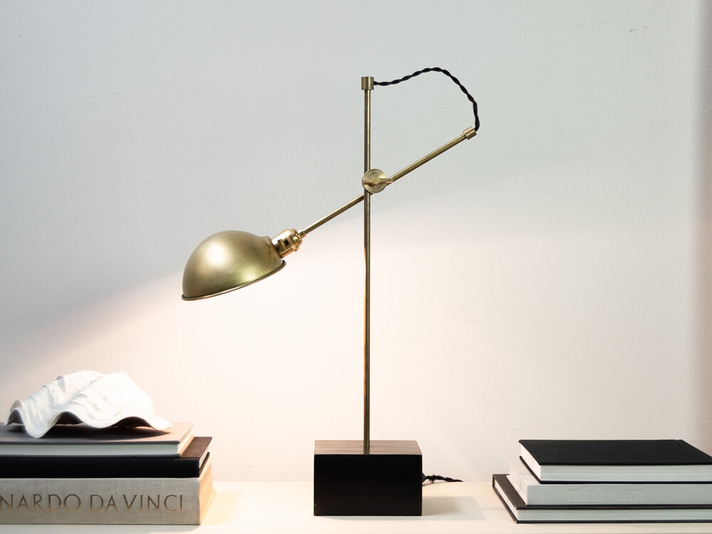 Easy DIY Brass and wood modern adjustable table lamp design by the savvy heart.jpg