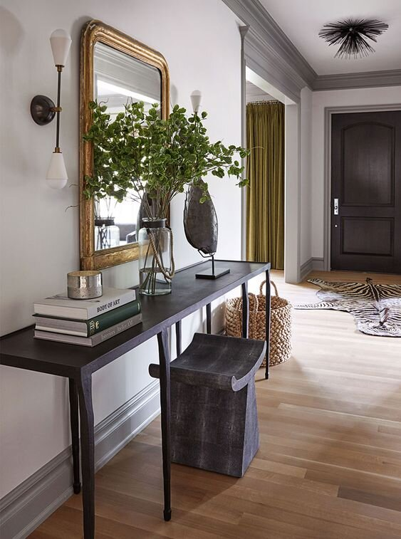 Modern entryway living room console table with mirrow and stool - what is the difference between end tables and sofa tables by the savvy heart.jpg
