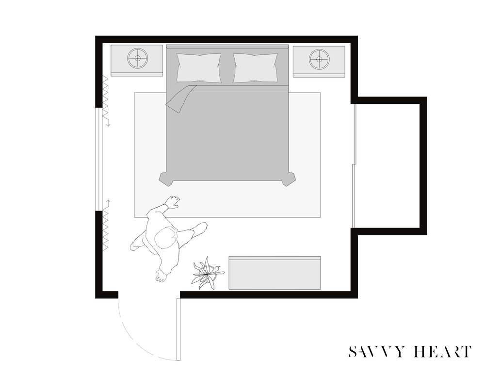 5 Layout Ideas For A 12 X 12 Square Bedroom W Floor Plans The Savvy Heart Interior Design Decor And Diy