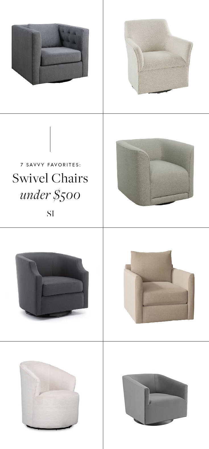 7 Modern Swivel Chairs with Round and Square backs for a contemporary living room by the savvy heart design studio