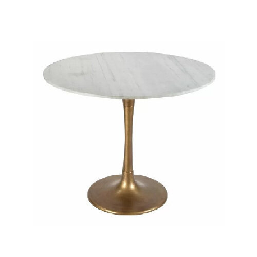 White round marble and gold brass dining room table - best contemporary tables under $500