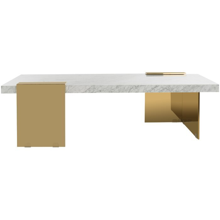 square white marble and brass - contemporary living room coffee table - the savvy heart blog.jpg