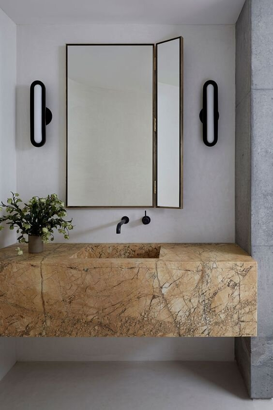 Insanely goregous marble bathroom with a slab floating vanity - Contemporary bathroom design - the savvy heart blog.jpg