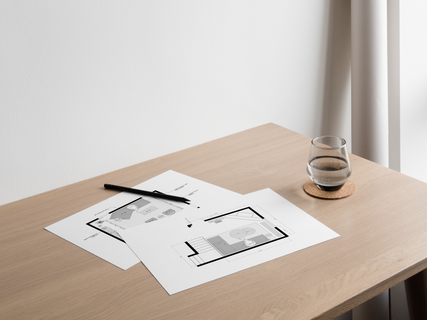 Interior Floor plans with a pen on a wood table