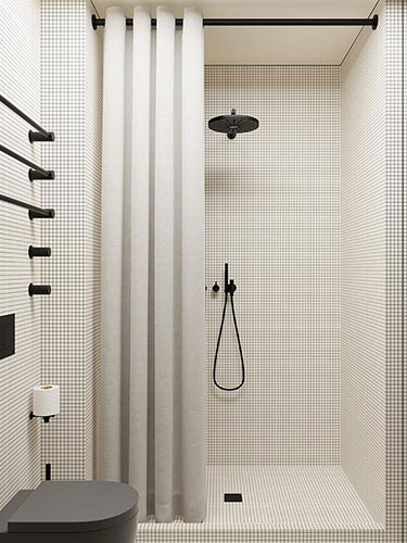 White square mosaic with dark black grout
