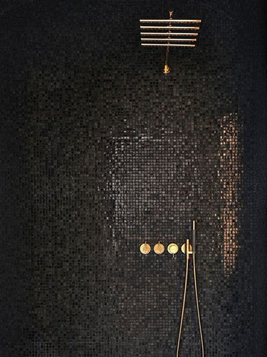 metallic square mosaic bathroom shower walls with brass fixtures