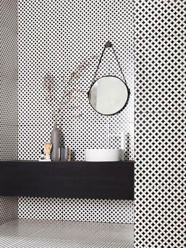 black and white bathroom with mosaic tiles on the walls